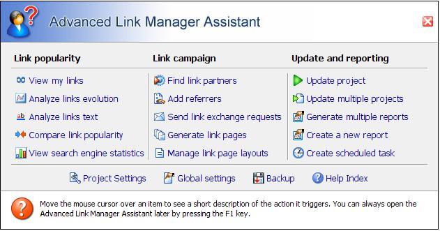 Principales funciones del Link Manager.