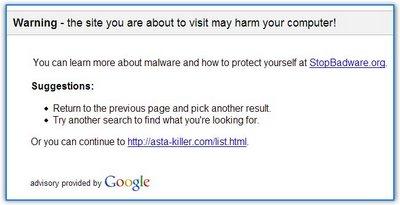 Google te advierte que visitar este sitio puede comportar tu expulsión de la red.