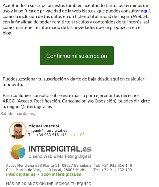 Mail del doble opt-in en Mautic